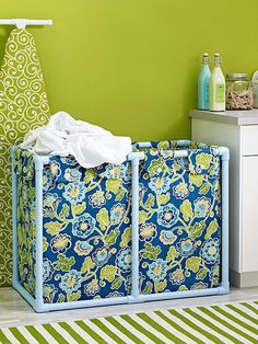 Assemble a DIY laundry bin with our free pattern and how-to instructions. The frame is constructed from PVC pipe and fitting -- genius! Pvc Pipe Crafts, Pvc Pipe Projects, Home Projects, Weekend Projects, Laundry Bin, Laundry Hamper, Laundry Sorter, Laundry Room, Laundry Storage