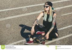 Blonde And Blue Hair, Street Stock, Hair Tattoos, Hipster, Cap, Stock Photos, Fresh, Sexy, Image