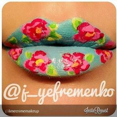 Floral Lip Art!:) Very Cute, Not Sure When I Would Want To Try This, But I Love It!:)