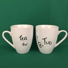 Pier 1 White Coffee Tea Cups Set of 2 Tea for Two Mugs 4 1/2 Inch #Pier1Imports