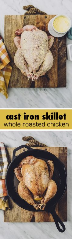 I prepare a whole roasted chicken most Sunday afternoons. It's a classic comforting recipe that has the added benefits of being both nutritious and cheap. I stretch it into at least two meals and as many lunches to get the most bang for the buck. A roasted chicken in a cast iron pan ensures super crispy skin and tender meat.