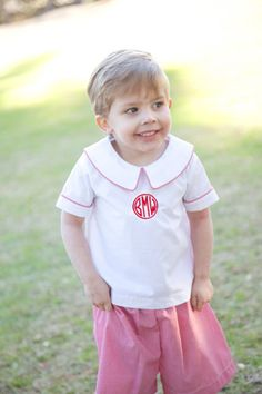 Monogrammed red short set