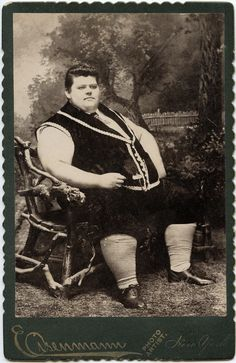 original cabinet card of Chauncey Morlan, a Victorian sideshow attraction, pictured here at 18 years old, weighing over 500 pounds.