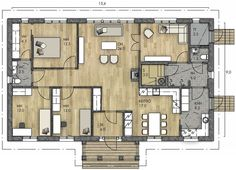 AURORA 144 B - Kannustalo Future House, House Plans, Floor Plans, Flooring, How To Plan, Architecture, Building, Apartments, Aurora
