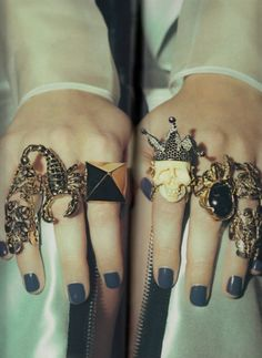 like the rings..love the scorpion...nail color is pretty too