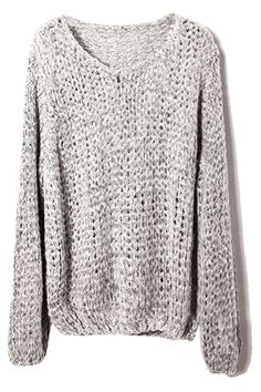 Hollow-out Loose Sheer Grey Jumper-cozy, cozy Pullover Shirt, Shirt Bluse, Pretty Outfits, Cute Outfits, Fashion Outfits, Womens Fashion, Petite Fashion, Curvy Fashion, Sweater Weather
