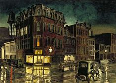 "Charles Burchfield (American, 1893-1967) ""Rainy Night"", 1929-30 ~ watercolor over pencil on paper.  The subject is a street scene in Buffalo, NY."