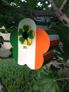 Irish Flag Birdhouse shaped like a Flower with a Shamrock on it.