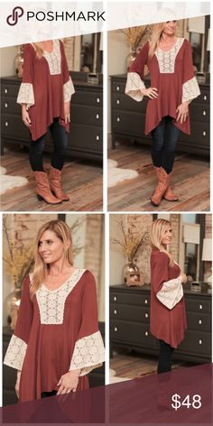 Crochet Detail Asymmetrical Tunic ✨Crochet Detail Asymmetrical Tunic! This Tunic has a gorgeous crochet detail along the front & sleeves. Has a very classy boho look. Also adds a dressy look to boots & jeans!✨ Tops Tunics