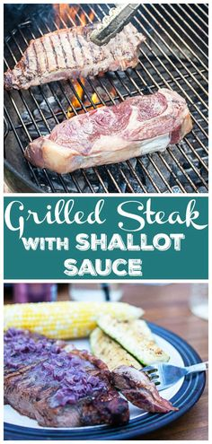 #AD This Steak with Shallot Sauce is made with ribeye that's grilled until tender and juicy! It's topped with a restaurant quality sauce made with red wine, butter, and Dijon mustard. Learn how to make a steakhouse meal on a charcoal grill. It's easy to grill the perfect steak at home! It's amazing paired with Dark Morello Cherry Grilling The Perfect Steak, How To Grill Steak, Healthy Pasta Sauces, Italian Tomato Sauce, Wine Butter, Healthy Comfort Food, Mineral Water, It's Amazing