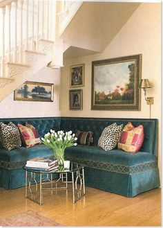 banquette seating under the stairs