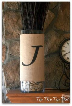 Burlap wrapped vase with stencil via Top This Top That.