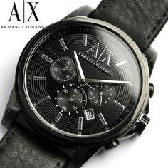 AX Armani Exchange Watches   Armani Exchange Watch Men's Black Leather Strap 45mm AX2098
