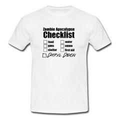 Zombie Apocalypse Checklist Tshirt - Cotton T-shirt - Survival - Daryl Dixon - The Walking Dead - Norman Reedus. $19.99, via Etsy.