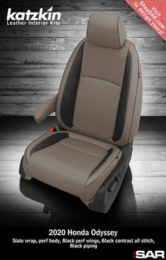 - This is a 2020 Honda Odyssey seat with Slate wrap, perf body, Black perf wings, Black contrast all stitch, Black piping Leather Kits, Custom Leather, Real Leather, Automotive Upholstery, Car Upholstery, Camo Gear, Leather Seat Covers, Black Pipe, Honda Odyssey