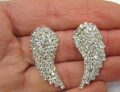 Silver Plated Rhinestone Crystal Angel Wing Earrings 299 New | eBay  $9