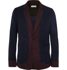 Dries Van Noten Navy Linen and Cotton-Blend Blazer
