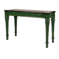 Wood Console Table - Weathered finish in emerald green with black top. Just the right pop! ;)