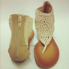 CROCHET ANLE STRAP Sandals Tribal Thong Open Toe Flats Back Zip Gladiator Shoe/ I have in black already :)