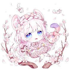 Cute Anime Chibi, Kawaii Chibi, Anime Girl Cute, Chica Anime Manga, Kawaii Anime Girl, Anime Art Girl, Cute Animal Drawings Kawaii, Cute Drawings, Chibi Girl Drawings