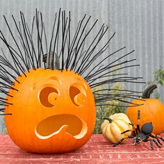 Hair-raising pumpkin, gourds and spider.  Hair-Raising Experience Strands of black electrical wire emanate 180 degrees of emotion for a pumpkin scared out of its gourd. A rather large spider lurking nearby seems to be the cause of all the distress. Download Pumpkin Face Patterns.