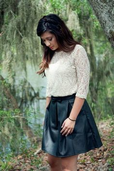 Our sammy blouse paired with our faux leather skirt is the perfect fall combination