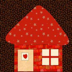 kostenlose Applikationsvorlage von Quilt-Patchwork Haus free applique pattern house