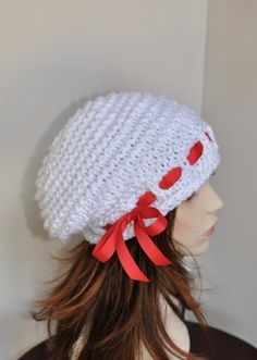 7eada8d1416 Slouchy Beanie Slouch Hat Oversized White Beret CHOOSE COLOR Knit Crochet  White Scarlet Red Ribbon Winter