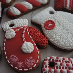 #DIY #handmade #hand painted #gingerbread #cookies #christmas #gloves #candy canes #white #red #royal icing #knitted #maybe a cookie
