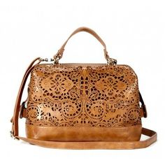 Gorgeous leather/lace bag! Thought of you @Karlee Sue Cathcart!