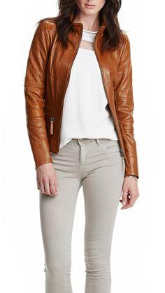 Women's Stlyish Leather Jacket, Women's Handmade Stylish 1 Chest Pocket And 2 Zipped Pockets Leather Jacket on Etsy, $189.00