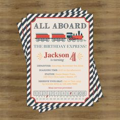 ChildrenS Birthday Party Invitation  Train Ticket  Party