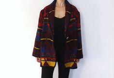 Vintage 80s 90s Striped Jofeld Oversized Blazer Jacket Southwestern Aztec Tribal Print Size Medium Fall Knit Wool Coat Geometric Design Boho...