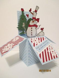 Never Too Soon for Winter Card Box Card In A Box, Pop Up Box Cards, Card Boxes, Boxed Christmas Cards, Holiday Cards, Stampin Up Weihnachten, Winter Karten, Exploding Box Card, Snowman Cards