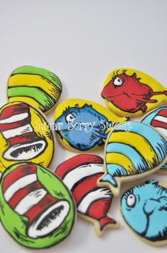 You will receive one dozen Assorted Dr. Seuss Cookies of Approximately 3 by 2 inch each. These made from scratch vanilla/almond cookies will melt in your mouth. Each cookie will be individually heat s