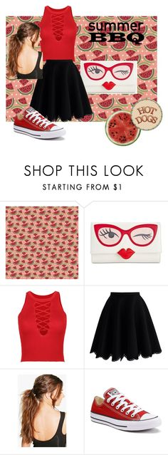 60-Second Style: Summer Pony (plus size) by pj-cox on Polyvore featuring WithChic, Chicwish, Converse, Kate Spade, Boohoo, Round Towel Co., plussize, 60secondstyle and summerpony