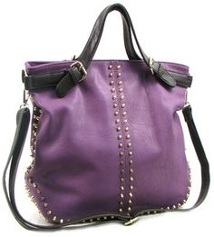 Purple Shoulder Bag with Metal Stud Accent, starting at $60.
