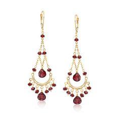 Garnet Chandelier Earrings in Yellow Gold, ct. Garnet Jewelry, Garnet Earrings, Rose Gold Jewelry, Gold Earrings, Gemstone Jewelry, Drop Earrings, Wire Jewelry, Diamond Color Scale, Chandelier Earrings