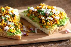 Chipotle Roasted Corn Avocado Toast. Summer corn roasted with chipotle and black…