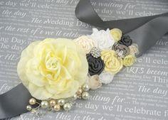 Sash Bridal Sash in Pale Yellow Cream White and Dark by SolBijou