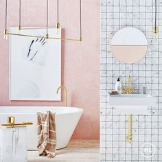 Pink is perfect in the bathroom, especially when teamed with marble and brass! #bathroom #reallivingmag