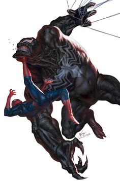 Venom vs Spider-Man , In-Hyuk Lee on ArtStation at https://artstation.com/artwork/venom-vs-spider-man