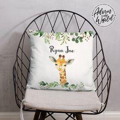 Personalized Giraffe Pillow, Personalised Name Pillow, Giraffe Name Pillow, Giraffe Nursery Decor, Giraffe Gifts, Giraffe Baby Shower Gift