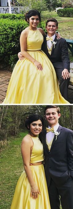 Two Piece Prom Dresses Yellow Long Prom Dresses Princess, Satin Prom Dresses Open Back, Beautiful Prom Dresses With Beading Senior Prom Dresses, Prom Dresses For Teens, Prom Dresses Online, Cheap Prom Dresses, Dress Prom, Pageant Dresses, Dress Online, Bridesmaid Dresses, Best Formal Dresses