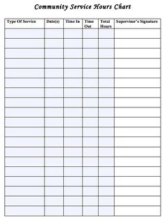 community service hours chart Service hours log sheet Printable | Community Service Hours Chart ...
