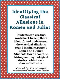 allusion in romeo and juliet
