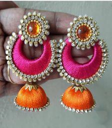 To order whatsapp on 7277140539 Silk Thread Bangles, Thread Jewellery, Fabric Jewelry, Bridal Jewellery, Silk Thread Earrings Designs, Silk Thread Necklace, Silk Thread Jumkas, Stone Earrings, Stud Earrings