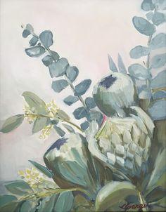 CGangini art, 'Protea in blues and greens' Maui art oil painting Green Paintings, Art Oil, Maui, Aloe, Original Artwork, Outdoor Living, Artworks, Study, Art Prints