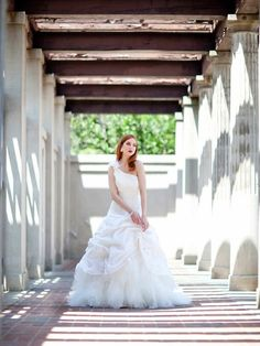 One shoulder ball gown taffeta bridal gown