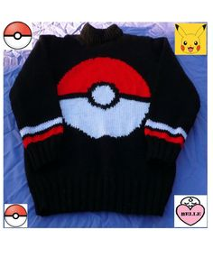 A sweater with a Pokeball on the front. Many of the patterns have suffered from wear and tear, but now with technology I am able to take away the scribbles, marks, coffee stains etc. Spending many hours cleaning and enhancing the patterns. Jumper Knitting Pattern, Knitting Wool, Double Knitting, Baby Knitting, Knitted Baby Cardigan, Sweater Hat, Sweater Outfits, Pokemon, Pikachu